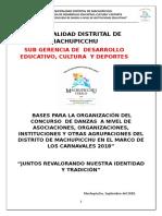 Bases Concurso de Danzas a Nivel de Insituciones Publicas y Privadas