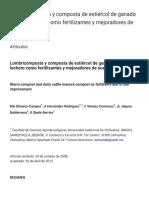 Lombricomposta y Composta de Estiércol de Ganado Vacuno Lechero Como Fertilizantes y Mejoradores de Suelo