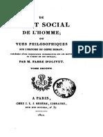 Antoine Fabre d'Olivet - De l'Etat social de l'homme ou vues Philosophique sur l'Histoire du Genre Humain, Tome II, 1822