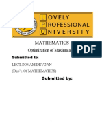 Optimization of Maxima and Minima