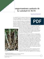 Comportamiento Sanitario - Caña de Azúcar en variedad CC8592