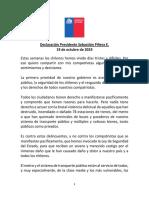 Discurso Sebastián Piñera freno alza del pasaje de Metro