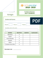 Examen 4to Grado Septiembre B1 2018-2019