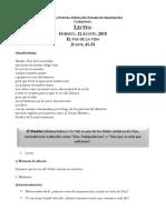 Lectio Dominical Domingo 12 de Agosto 2018