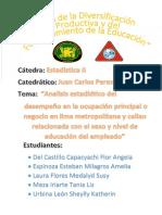 Analisis Estadistico Del Desempeño en La Ocupación Principal o Negocio en Lima Metropolitano y Callao Relacionada Con El Sexo y Nivel de Educación Del Empleado