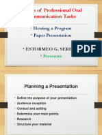 Genres of Professional Oral Communication Tasks Program and Paper Presentation Serena