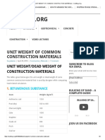 Unit Weight of Common Construction Materials
