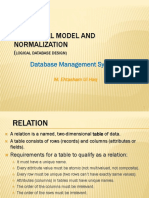 Relational Model And Data Normalization