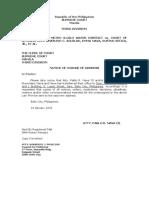 Notice of Change of Address