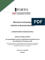 Contrato Psicológico, Comprometimento Organizacional e Satisfação No Trabalho