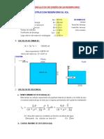 Hoja excel diseño de reservorio rectangular