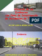 Clasificación de las evidencias para fines de investigación de accidentes de transito