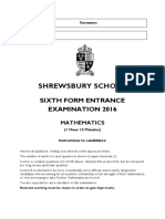 ShrewsburySchool 6thFormSpecimenPaper Maths