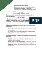 ANALISIS DE EQUILIBRIO Y PUNTO DE EQUILIBRIO