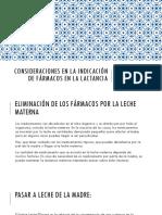 Consideraciones en La Indicación de Fármacos en La Lactancia