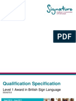 Level 1 Award in BSL - Qualification Specification