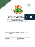 ECE 102 Child Development I Prental Infancy NOT VETTED 2