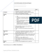 Rubrics and Guidelines for Research Proposal and Oral Presentation