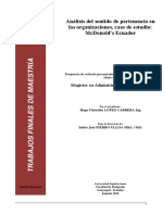 Análisis Del Sentido de Pertenencia en Organizaciones Caso McDonalds Ecuadorldksajlk