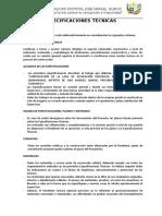 ESPECIFICACIONES TECNICAS - QUINUAMAYO