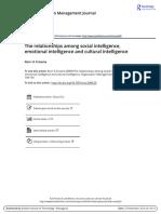 The relationships among social intelligence emotional intelligence and cultural intelligence