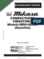 Manual Compactador Vibratorio Mrh800gs Mikasa Operacion Partes Componentes Ensamble Motor Gasolina