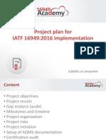 Project Plan for IATF 16949 2016 Implementation En