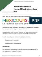 Démarrage Direct Des Moteurs Triphasés - Cours d'Electrotechnique Avec Maxicours
