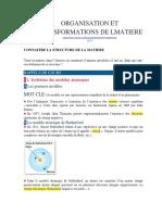 Organisation Et Transformations de La Matière