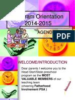 Parent Orientation 2014-2015