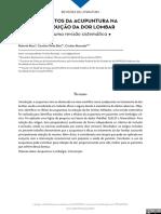 Efeitos Da Acupuntura Na Redução Da Dor Lombar -Revisao Sistematica