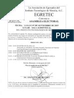 Convocatoria Elecciones EGRETEC 2019