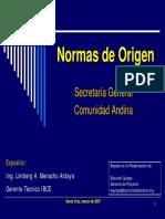 Normas de Origen de la Secretaria General Comunidad Andina