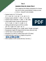 Maths Assessment Notes for Autumn Term 1