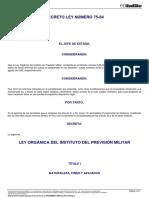 22085 DECRETO LEY 75-84 Ley Organica Instituto de Prevision Militar