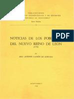 Antonio Ladrón de Guevara, Noticias de Los Poblados Del Nuevo Reino de León, 1739