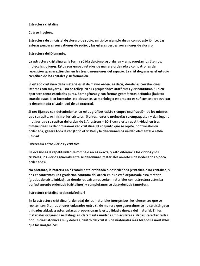 Estructura Cristalina Docx Cristal Estructura Cristalina