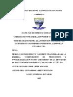 Modelo de Presupuesto y Gestion Financiera Empresa Uniandes