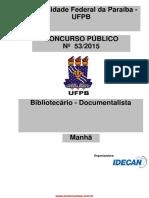 Prova Bibliotecário UFPB