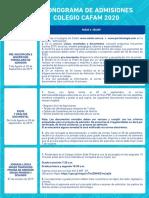 Cronograma Admisiones Colegio Cafam 2020 (1)
