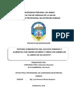 """""""ESTUDIO COMPARATIVO DEL SULFATO FERROSO Y ALIMENTOS CON HIERRO EN NIÑOS Y NIÑAS CON ANEMIA EN EL ANEXO DE VILCACOTO""""."""