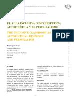 El aula de clase como respuesta autopoiética y el personalismo