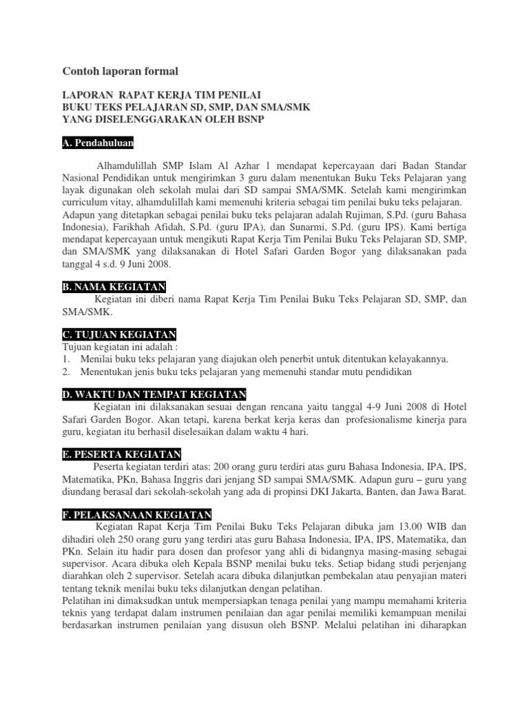Contoh Laporan Formal Dalam Bahasa Inggris Guru Paud