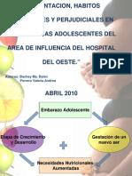 Alimentación, hábitos saludables y prejudiciales en embarazadas adolecentes del área de influencia del Hospital del Oeste.