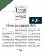 Daily Tribune, Oct. 22, 2019, Bill decriminalizing religoius offense.pdf