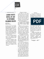Philippine Daily Inquirer, Oct. 22, 2019, Lagman wants repeal of law vs offending religious beliefs.pdf