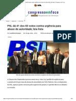 PSL Dá 41 Dos 83 Votos Contra Urgência Para Abuso de Autoridade; Leia Lista _ Congresso Em Foco