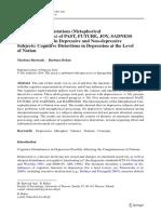 Cognitive Representations in Depressive and Non-depressive Subjects