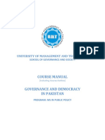 Course Outline Governance and Democracy in Pakistan (3)