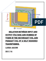Relation Between Input and Output Voltage and Number of Turns in the Secondary Coil and Primary Coil of a Self Designed Transformer